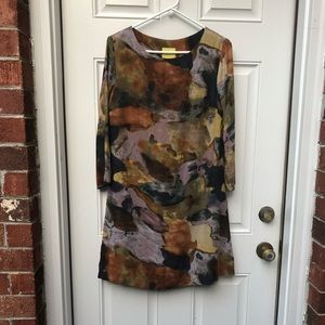 Anthro Maeve Watercolor Tunic Dress